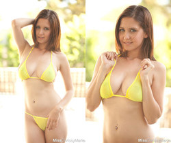 Cute babe Chrissy Marie shows off her new sexy yellow bikini