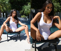 Oriental Babe Katsuni Plays With Herself By The Pool