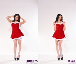 Charlotte teases in her cute red and white Xmas outfit