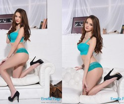 Emelia Paige teasing on the white sofa in aqua green lace