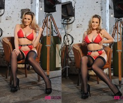 Jodie Gasson teasing in her Hustler lingerie and stockings
