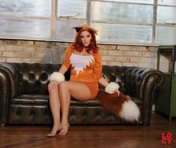 Lucy V teasing in her cute foxy outfit