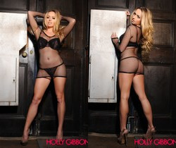 Holly Gibbons in black lingerie and fishnet top