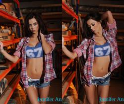 Jennifer teases in her blue 67 shirt and denim