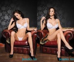 Jennifer teasing in her white lingerie