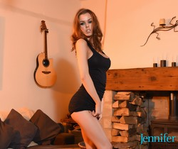 Jennifer Ann strips out of her tight black dress