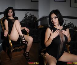 Summer teasing in her black bodysuit