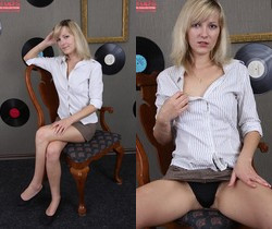 Teen blonde Olive spreading & fingering her pussy