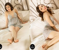 Deena D looking sensual on her soft White bed - Spinchix