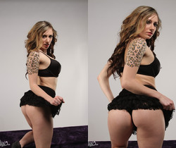Lily stripping out of her hot black lace