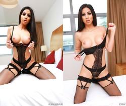 Sexy Brunette Julia de Lucia Gets a Mouth Full of Cum