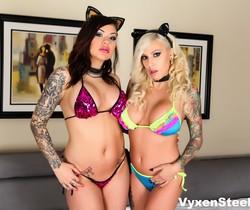 Sex kittens Vyxen Steel & Karmen have a super hot fucking