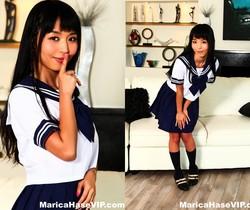 Schoolgirl Marica masturbates on the couch - Marica Hase