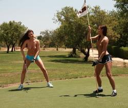 Jo, Sandra Shine - Topless Golfing - Viv Thomas