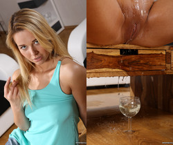 Wet and Pissy - Hot blonde fires her piss into wine glasses