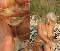 Ines Oiled on the beach - Ines Cudna