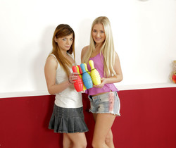 Cayla and Loreen play skittles with their piss