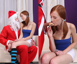 Linda Sweet sucks Santa's cock - We Like To Suck