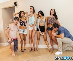 Miami Orgy - guys fuck the shit out of 4 girls - Spizoo