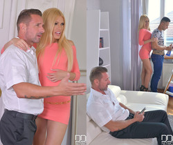 Banging The Boxes - Two Studs Fuck Blonde's Pussy & Ass