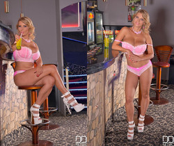 Busty, Blonde & Beautiful - Hot Babe Masturbates On Bar Stoo