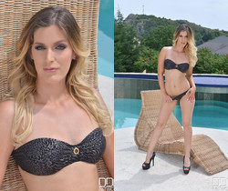 Babe in Bikini Sizzles in Solo Show - Poolside Pleasures