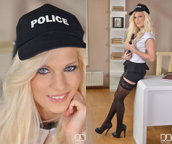 Cock Queen on Patrol - Hot Blonde Officer Action