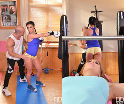 Double Ended Dildo Delights - Lesbians X-Rated Gym Routine