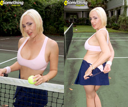 Raquel Sieb - Tennis Court Tease - 40 Something Mag