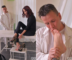 Foot Fetish Ecstasy: Horny Doc Sucks Hot Babe's Yummy Toes
