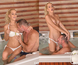 Seductive Looks: Young Shaved Pussy Fucked in Hot Tub