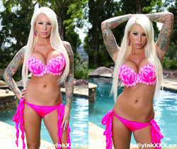 Blonde hottie Lolly poses by the pool - Lolly Ink