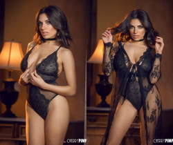 Darcie Dolce Seduces In Her Black Bodysuit and Lace
