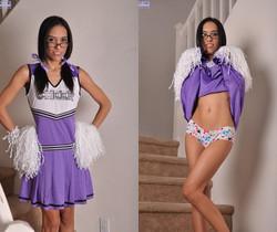 Brunette cheerleader Tia Cyrus get her pussy rammed hard