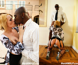 Busty blonde MILF Sunny loves that black cock - Hot 4 MILF