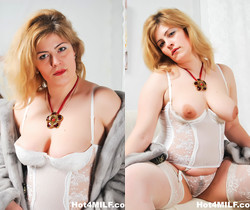 Busty MILF takes two cocks - Hot 4 MILF