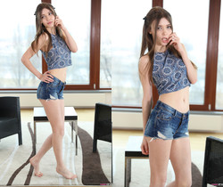 Teen Dreams - Mila Azul in short jean shorts and crop top