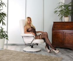 Wet and Puffy - Stunning blonde Delphine orgasms with dildo