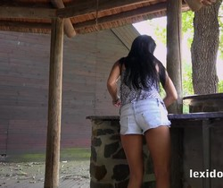 Naughty outdoor sex on the terrace for Lexi Dona