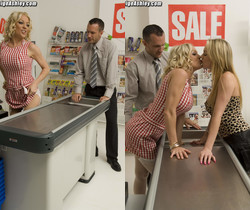 Cindy Behr with Paige Ashley threesome at a grocery store