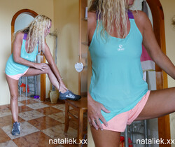 Natalie K - Striptease and fingering after sweaty exercising