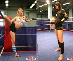 Blue Angel & Sabrinka - Lesbian Wrestling - Nude Fight Club
