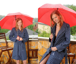 Angel Hott - red umbrella and naked babe