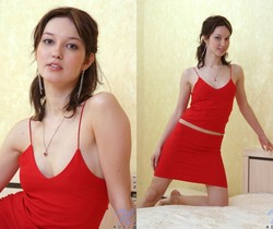 Adel - taking off her sexy red dress