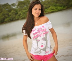 Janessa Brazil - Sexy Beach Babe in Tight Scrunch Back Short