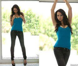 Natasha Belle - Blue Shirt & Black Jeans