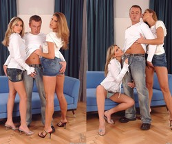 Cherry Jul & Jennifer Stone Anal FFM Threesome