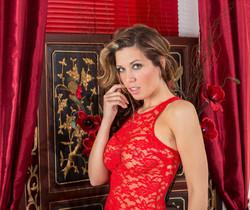 Vicky Burns Teases In Her Red Hot Lingerie