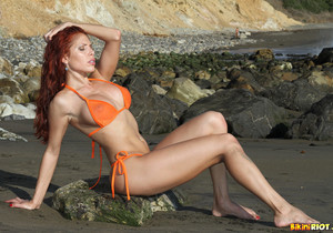 Erika Jordan - Orange G-string on the Beach