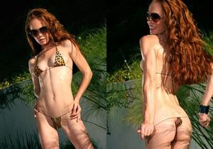 Heather Carolin - Tiny Leopard Thong Bikini